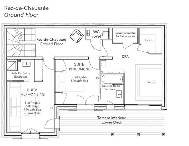 Chalet Celeste plan RDC
